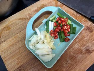 山藥炒肉片?萵筍香菇山藥炒肉片,蒜切蒜片,姜切姜絲,小米辣切圈,小蔥切小段