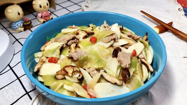 山药炒肉片➕莴笋香菇山药炒肉片,成品