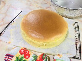 十寸古早蛋糕,烤熟后可以立即从模具里拿出,剥除硅油纸,趁热也能吃,凉了更好吃哦!