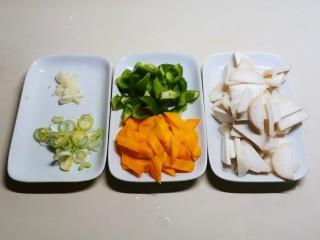 杏鲍菇炒鸡蛋,胡萝卜切片 青椒切块 葱切片 蒜切碎