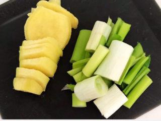 手撕鸡胸肉,鲜姜切成小片,大葱切成小段