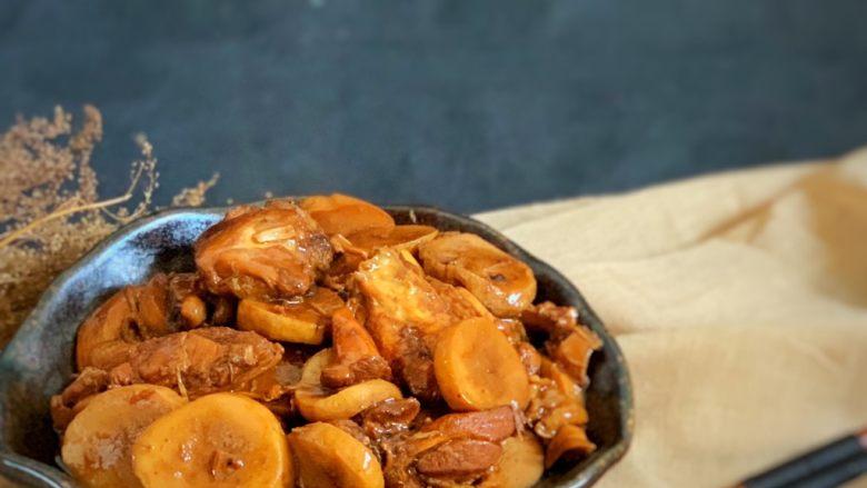 杏鲍菇烧鸡块,完成