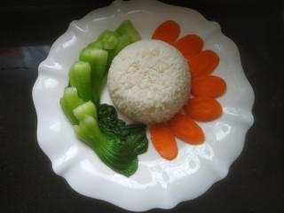 鮑魚撈飯,米飯,油菜,胡蘿卜擺盤