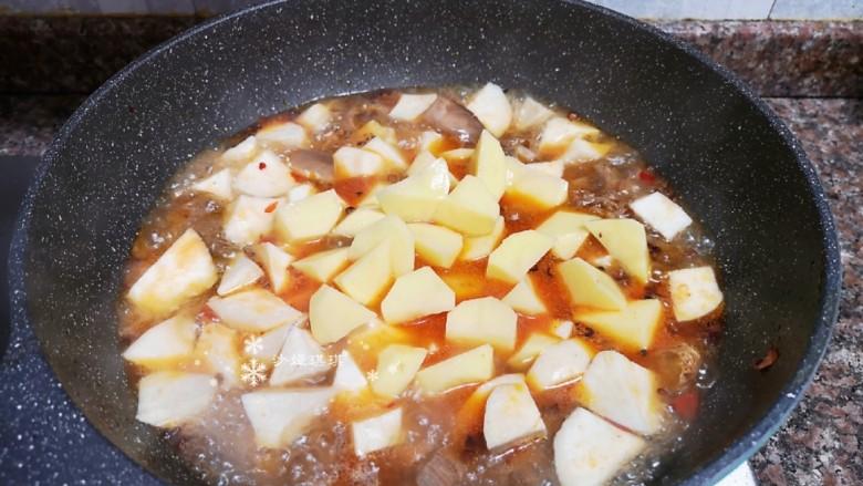 杏鲍菇烧鸡块,放入土豆和杏鲍菇煮开后转小火煮至汤汁浓稠。