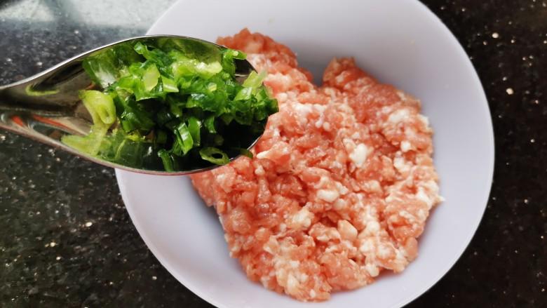 丝瓜酿肉,肉里加入葱末