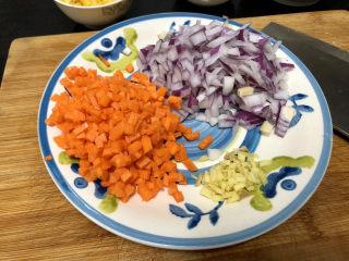 西兰花炒牛肉➕春风花草香,姜切姜末,胡萝卜切末,洋葱切末