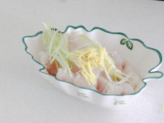 清蒸龙利鱼,将鱼肉放入碗中,放上葱丝,姜丝