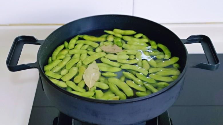 香辣毛豆,上煤气大火烧开,转中火煮10分钟。(不要盖盖子,这样煮出来的毛豆颜色更好看)