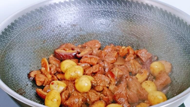 香菇鹌鹑蛋,大火收汁即可关火出锅。