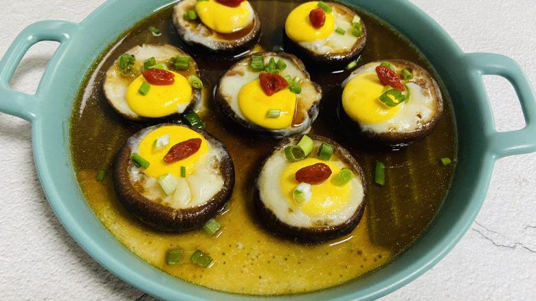 香菇鹌鹑蛋,枸杞点缀