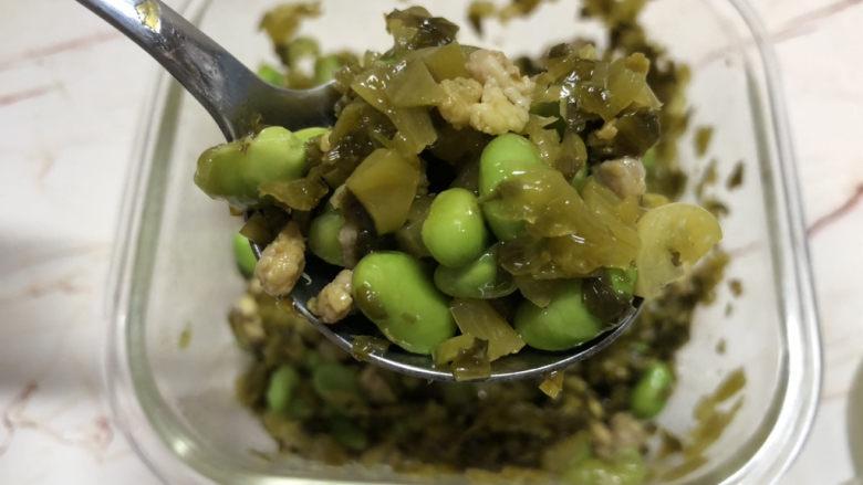雪菜炒毛豆,喝粥、下饭、配馒头都很不错吧