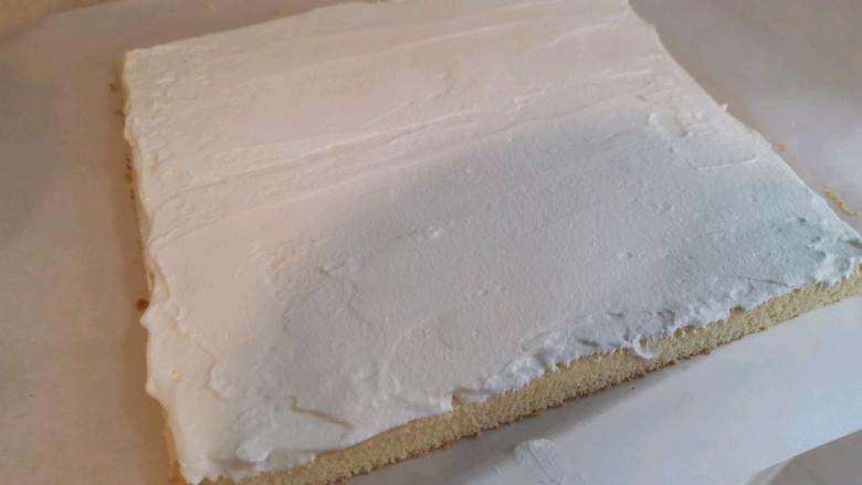 血橙蛋糕卷,均匀的抹上淡奶油,用刮刀刮平整,奶油约3mm-4mm。