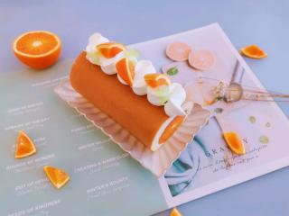血橙蛋糕卷,成品。