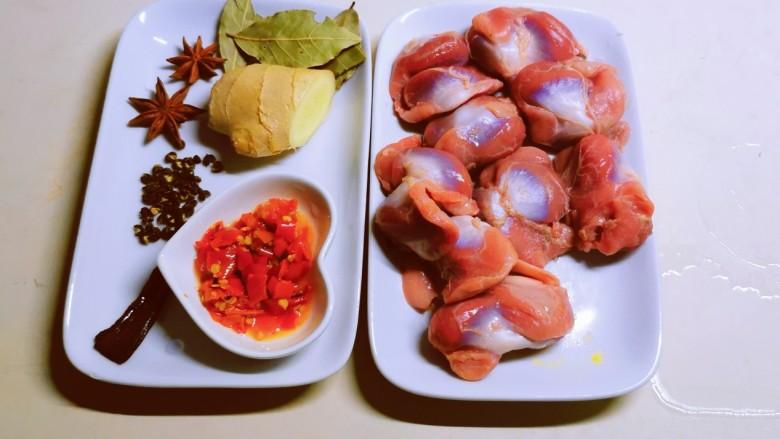 泡椒鸡胗,食材准备好