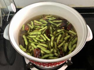 香辣毛豆➕青青自是风流主,不用加盖,中小火炖煮10分钟。关火浸泡半小时。