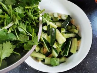 凉拌腐竹黄瓜,取一个大碗,腌好的黄瓜挤出水份,把焯好水的腐竹,香菜放在一起