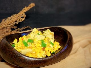 豆腐炒鸡蛋,出锅