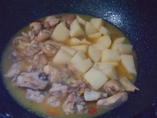 三黄鸡炖土豆,然后倒入土豆炖6-7分钟
