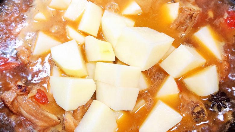 三黄鸡炖土豆,加入土豆块继续慢炖10分钟。