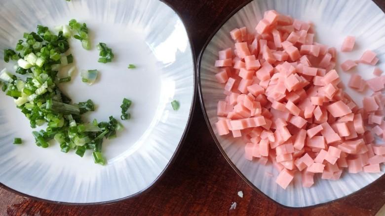 铁板日本豆腐,葱切末,火腿切小粒