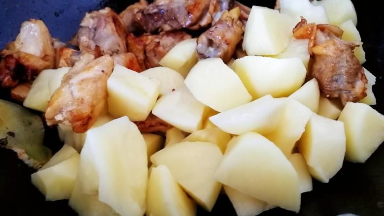 三黄鸡炖土豆,放入土豆。