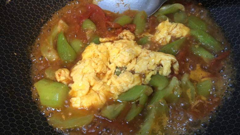 番茄炒丝瓜,再加入刚才炒好的鸡蛋