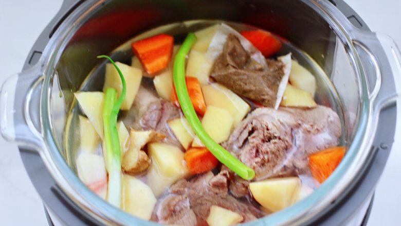 筒骨土豆胡萝卜汤,再把切好的土豆块和胡萝卜块也放入,放入炖肉调料包,剩下的葱和姜片,倒入不超过水位线的清水。
