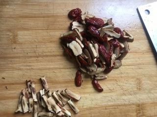 红糖开花馒头,趁发酵的时间,切点红枣,红枣洗干净,去核,再切成小丁