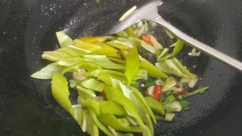尖椒肥肠,放入尖椒稍微翻炒