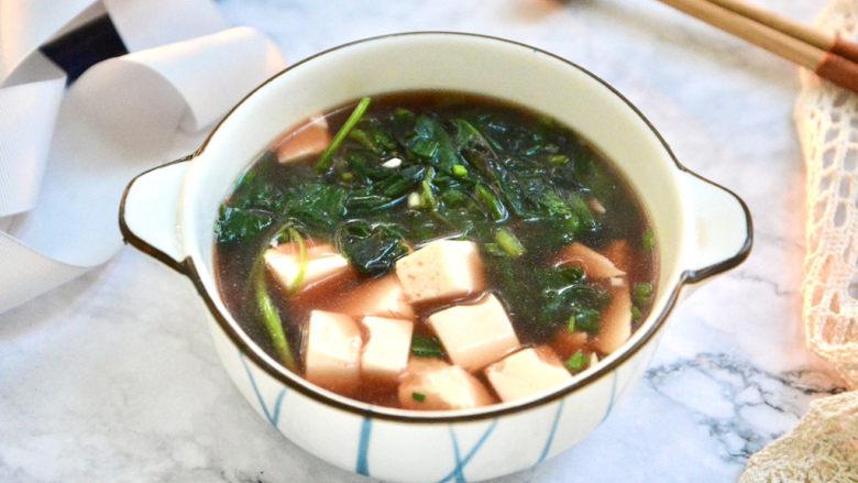 苋菜豆腐汤,煮2分钟就可以吃啦