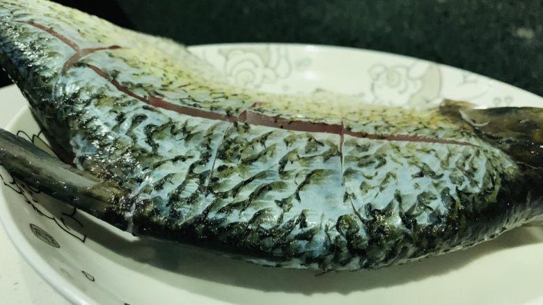 红烧鳊鱼,鱼被划十字