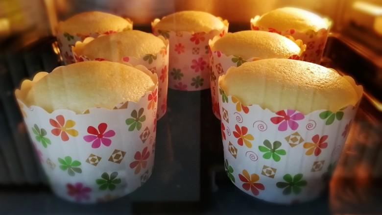 纸杯酸奶蛋糕,180度烤10分钟的样子。然后调至160度烤15分钟。