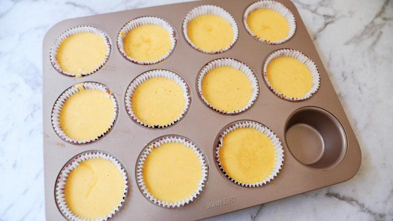 老式鸡蛋糕,模具垫上纸托,再将蛋糕糊倒入纸托中,8-9分满即可