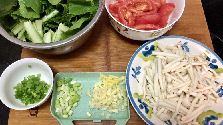 素炒白玉菇➕番茄小白菜烩白玉菇,全部食材准备好