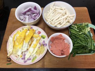 白玉菇炒鸡蛋➕春至花如锦,全部食材准备好