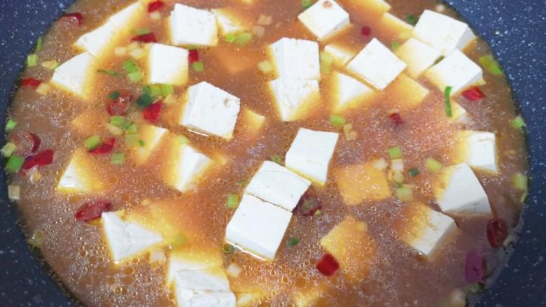 家常烧豆腐,下入腌制过的豆腐烧开,中小火炖15分钟。
