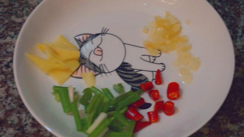 葱爆鱿鱼,姜片