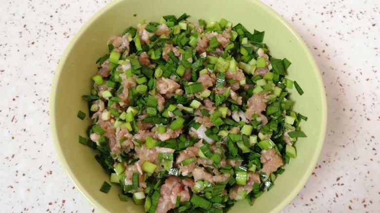韭菜锅贴,将韭菜碎放入肉馅里面搅拌均匀。