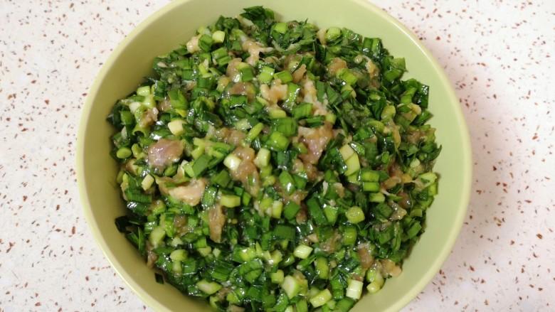 韭菜锅贴,锅贴馅完成。