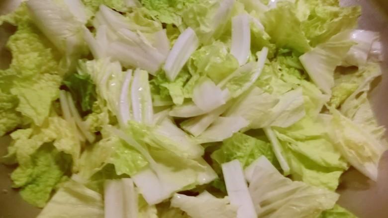 白菜炖豆腐,放入白菜 翻炒2分钟