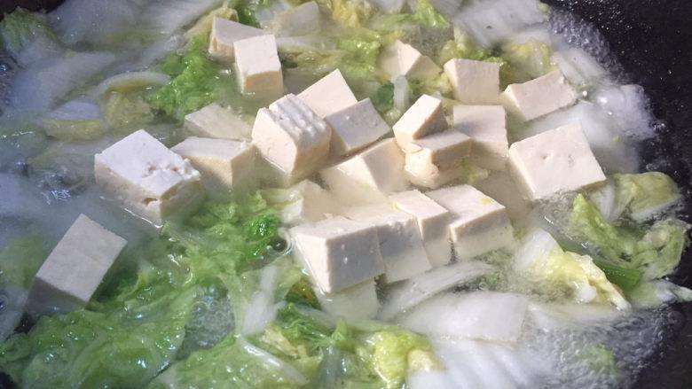 白菜炖豆腐,加入豆腐慢炖8分钟