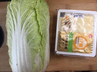 白菜炖豆腐,准备大白菜半颗,豆腐半盒