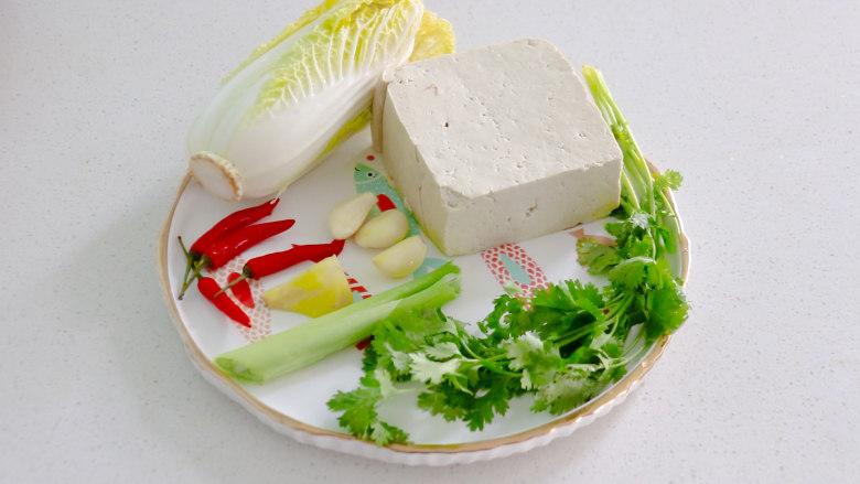 白菜炖豆腐,准备好食材