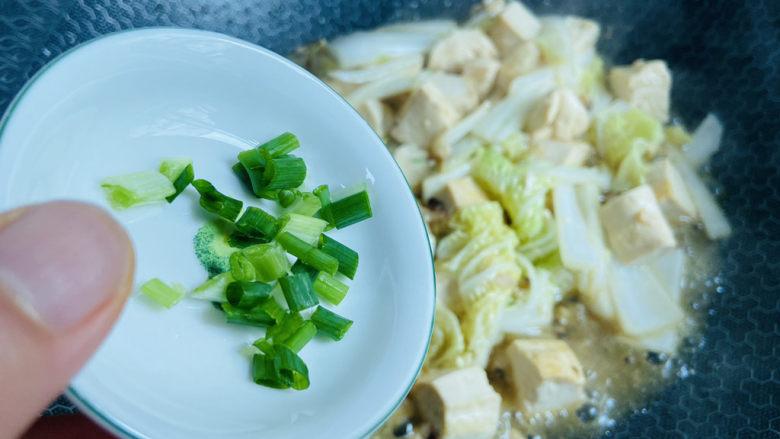 白菜炖豆腐,入葱花