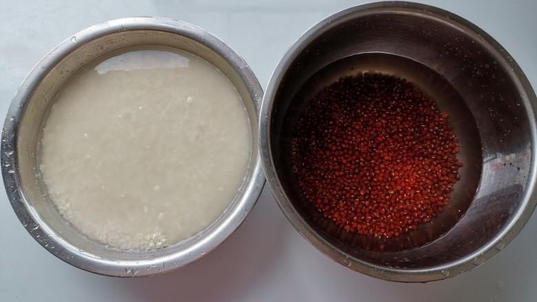 红豆粽子,把<a style='color:red;display:inline-block;' href='/shicai/ 498'>糯米</a>和<a style='color:red;display:inline-block;' href='/shicai/ 3607'>红豆</a>洗干净,加清水泡一晚上
