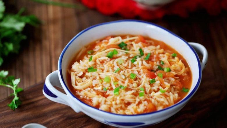 番茄金针菇烩饭,成品图