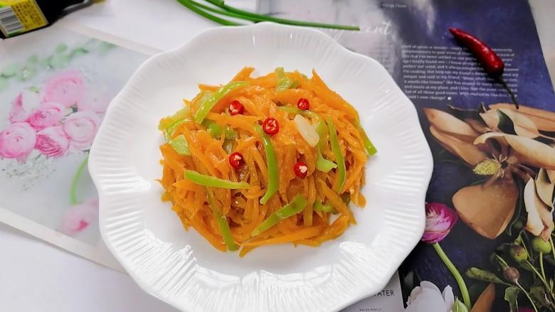清炒南瓜丝,拍上成品图,一道清爽又美味的清炒南瓜丝就完成了。