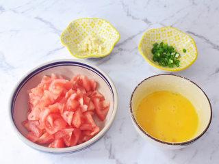 西红柿鸡蛋面,西红柿洗净底部切十字,放入开水中焯烫,烫至皮翘取出去皮,然后切成小块备用,鸡蛋打散,蒜切末,葱切葱花