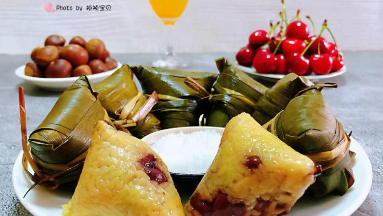 红豆粽子,搭配樱桃、菠萝汁、板栗一起吃棒极了