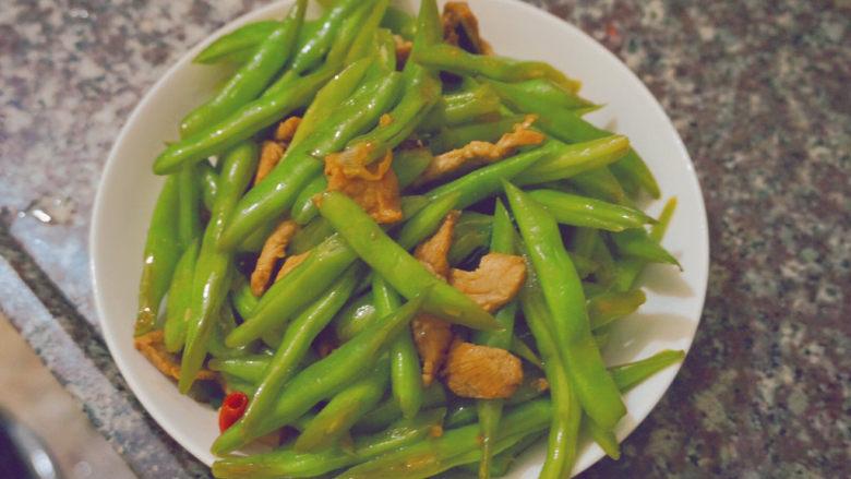 四季豆炒肉,这样就可以食用啦,色香味俱全